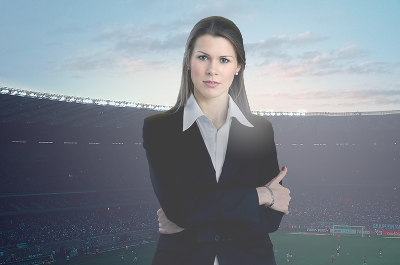 Woman in a football stadium