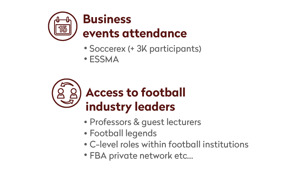 Business events attendance and access to football industry leaders information